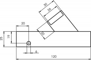 Schematic view of test block and angle beam wedge